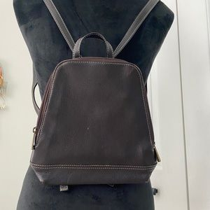 GH BASS & Co DARK BROWN LEATHER MINI BACKPACK